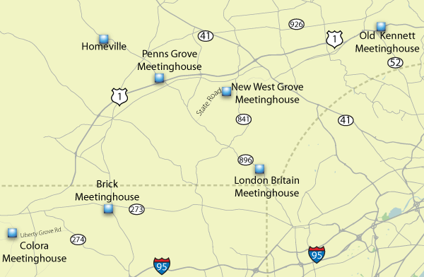 Map Western Quarter Meetinghouses